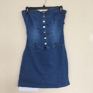 Strapless Denim Button Up Dress